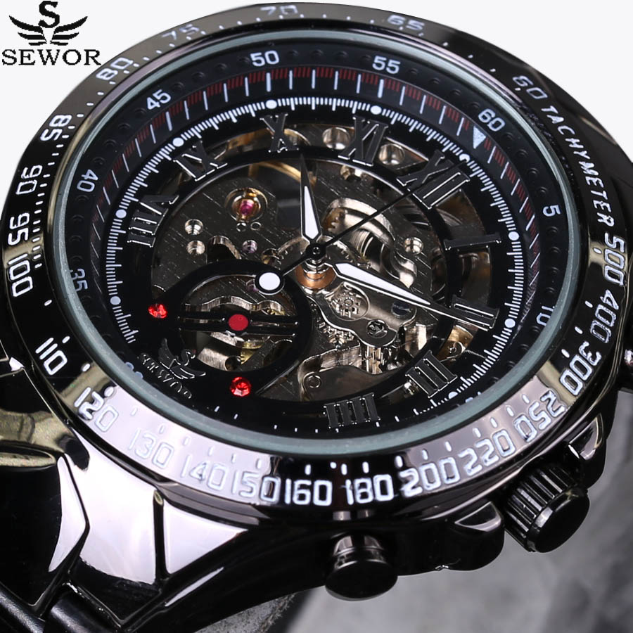 2017 New SEWOR Luxury Brand Men Watches Automatic mechanical Watch Fashion Casual Male Sports Clock Full Steel Wrist watch sewor new arrival luxury brand men watches men s casual automatic mechanical watches diamonds hour stainless steel sports watch