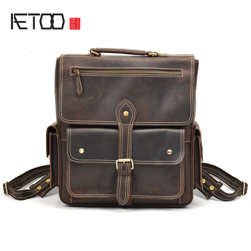 AETOO Europe and the United States wind retro men backpack crazy horse skin layer leather backpack leisure travel backpack aetoo europe and the united states wind retro men backpack crazy horse skin layer leather backpack leisure travel backpack