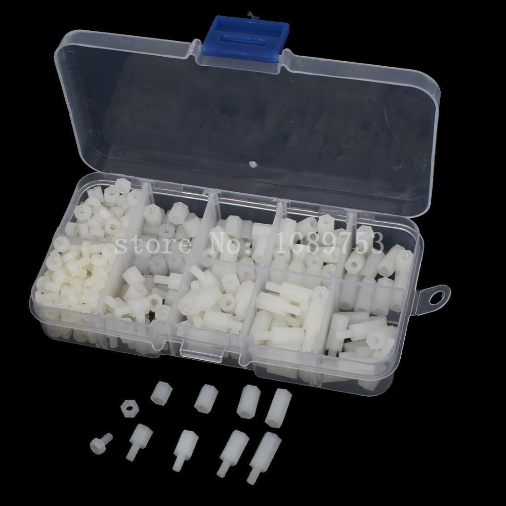 260PCS/LOT M3 Nylon White M-F Hex Spacers Screw Nut Male Female Screw Assortment Kit Stand off Set M3*6mm M3*8 M3*12 M3*15mm
