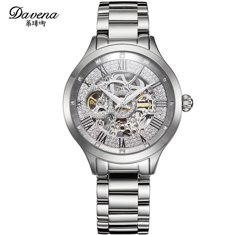 Marke Mode Frauen Mechanische Uhren Große Größe Neutral Stahl Handgelenk uhr Automatische Selbst Wind Römischen Kleid Uhren Montre femme-in Damenuhren aus Uhren bei  Gruppe 3