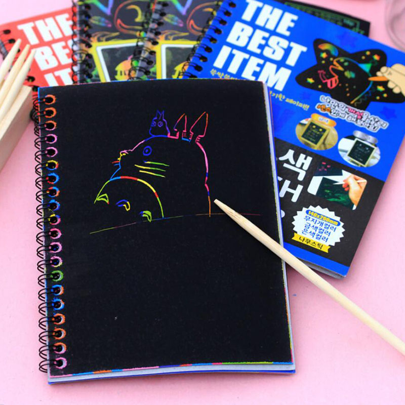 2016 Kawaii Kids DIY Magic Scratch Art Note Book Scraping Drawing Notebook Children Baby Doodle