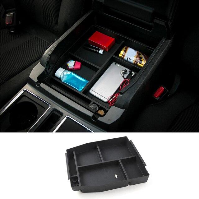 Автомобильный ящик в салон для хранения в подлокотнике MOPAI, Декоративный ящик для перчаток из ABS для Ford F150, 2015