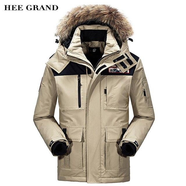 Hee Grand/Для мужчин зима теплый пуховик Новое поступление 2017 года одноцветное Цвет длинный участок мужской Пиджаки Плюс Размеры M-3XL MWM1629