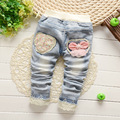 2016 Primavera Outono Roupas Meninas Do Bebê Lavado Bordado Do Vintage Arco Rendas Denim Jeans Full Length Pants Crianças Calças Dos Desenhos Animados