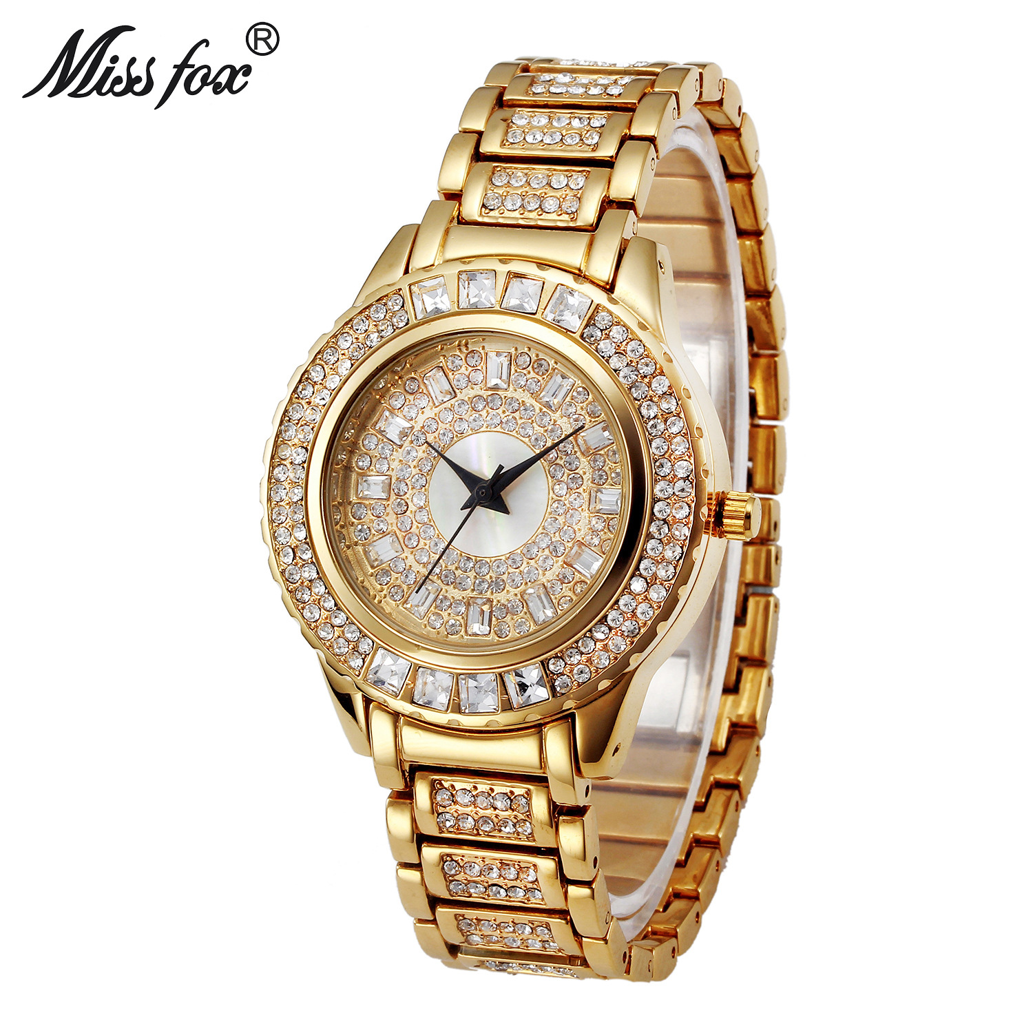 Miss Fox Brand Luxury Womens Dress Watch Full Diamond Rhinestone Stainless Steel Gold Quartz Female Wristwatch Relogios Feminino цена