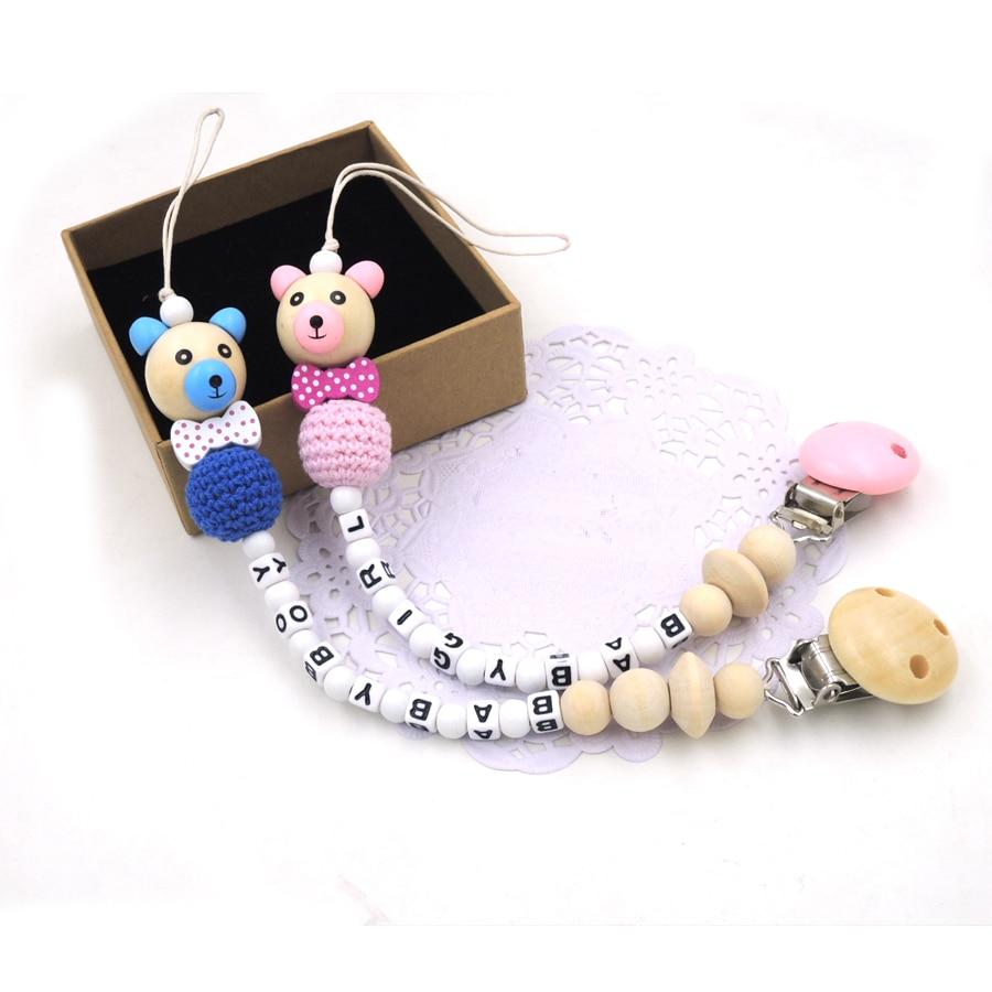 NYHET träbjörn pärla slips anpassad napp för baby naturlig virka - Äta och dricka - Foto 6