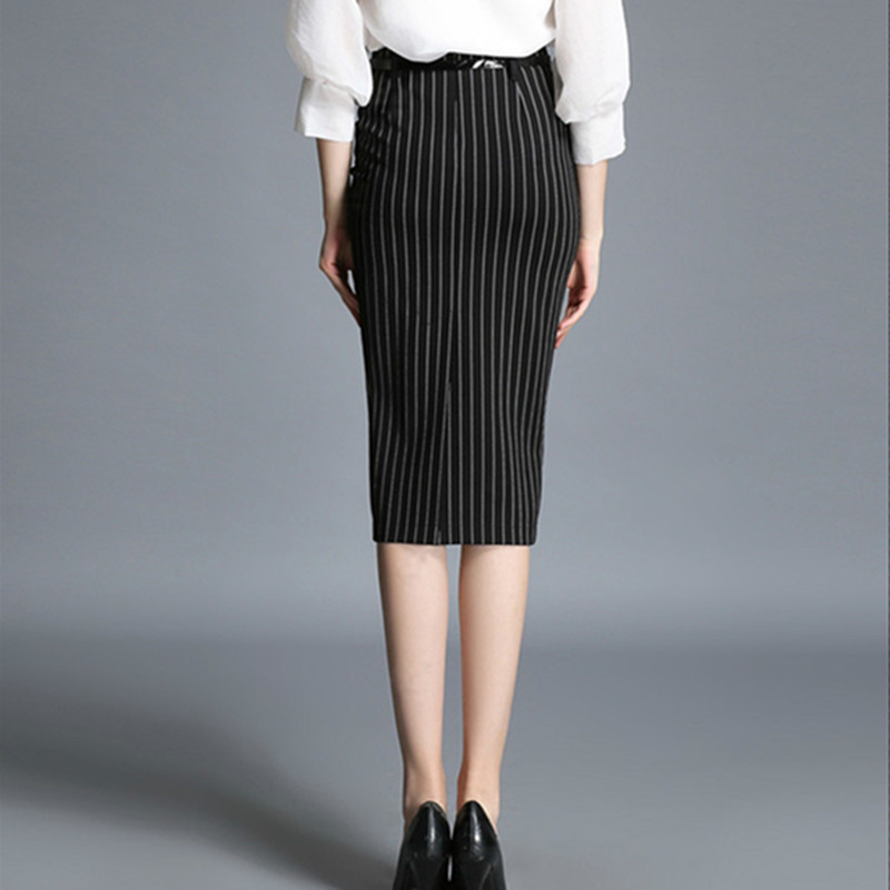 Women Black Striped Pencil Skirt 2017 Autumn High Waist Office Ladies OL  Split Mid Calf Skirts Formal Work Wear-in Skirts from Women s Clothing on  ... 03bf85d24