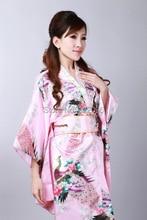 Shanghai Story hot sale Vintage Japanese Style Dress Japan Women's Silk Satin Kimono Yukata Evening Dress 2 color H0040