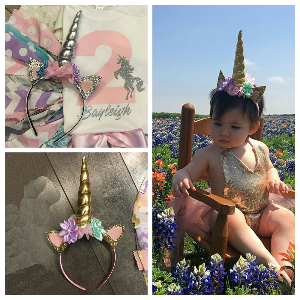 5pcs Newborn Elastic Unicorn Headband Birthday Lace Flower Kids Tiara Hair Bands Headwear Glittery Lovely Kids