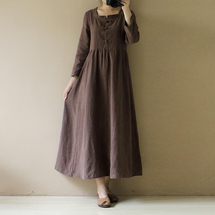 YoYiKamomo Women dress big size vintage cotton original linen dress buckle loose casual robe women