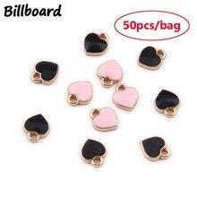 50pcs/bag 7x6mm Zinc Alloy Enamel Charms Mini Sweet Heart for DIY Necklaces Bracelets Jewelry Accessories Metal