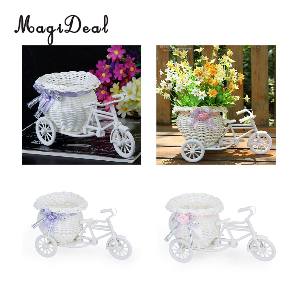 MagiDeal Handmade Rattan Flower Tricycle Bike Flower Basket Storage For Flower Plant Hom ...