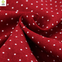 Free Shipping 5 Meters White Dots On Red Linen Fabric For Tablecloths Cushion Pillow Cotton Width