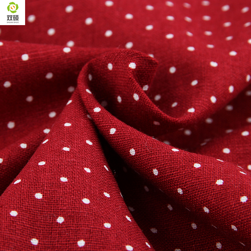New Free Shipping White Dots On Red Linen Fabric For Tablecloths Cushion Pillow Cotton 1 ...