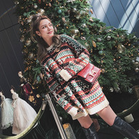 National Wind Loose Show Thin Color Striped Pullover Women Lazy Christmas Sweater Tide Fashion Women Sweaters 2019 Winter