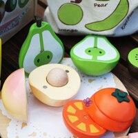 Trasporto libero di Legno gioco di Simulazione di frutta tagliata, bambini giocattolo Classico, simulazione di frutta magnetica, bambini casa di gioco di Simulazione