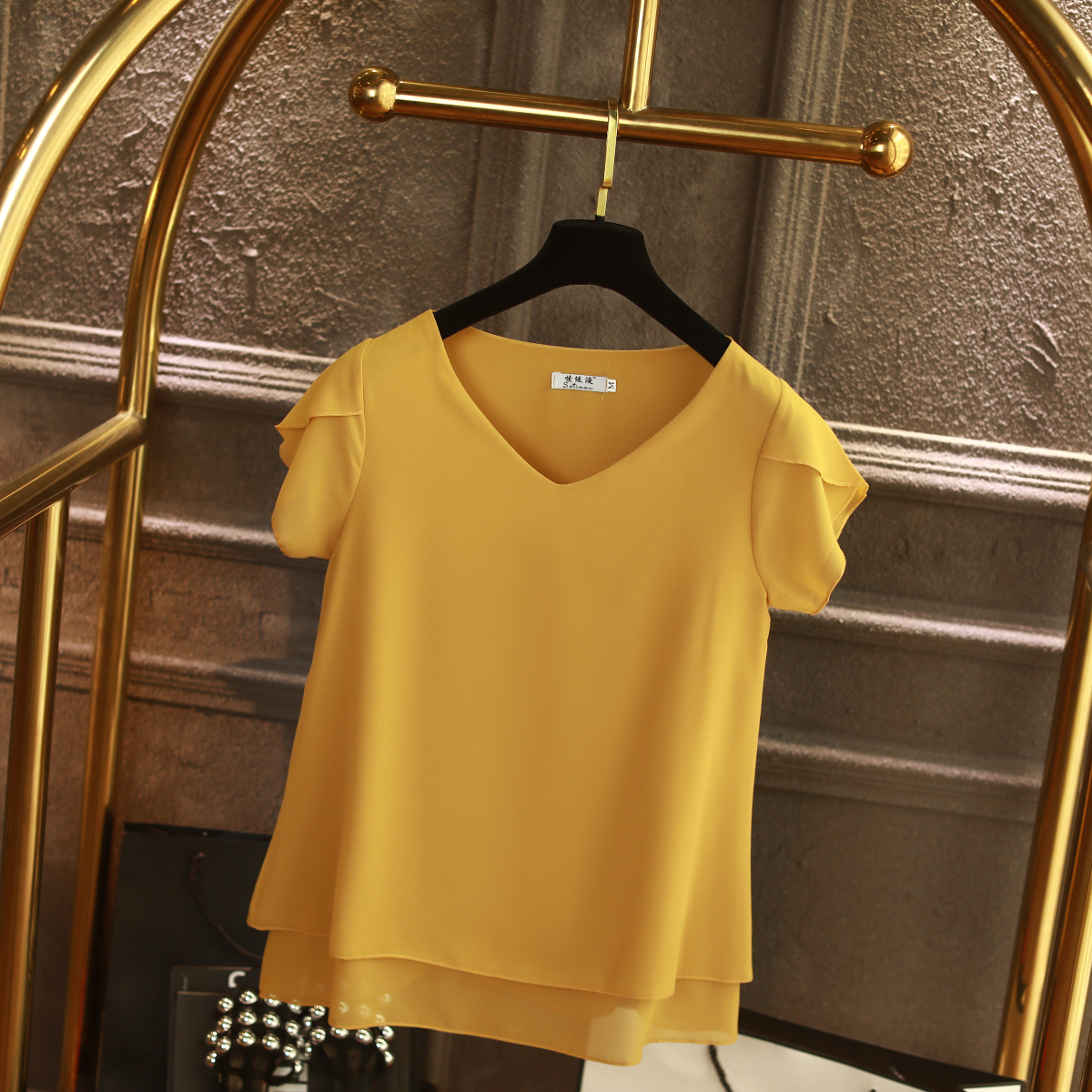 YUANYU Fashion Brand Women Chiffon Shirt 2019 Summer Short Sleeve V-neck Blouse Casual 9 Solid Color Loose Oversized Lady Tops