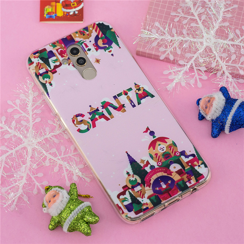 Christmas Case For Huawei Mate 20 Lite Silicone Case For Mate 10 Lite Case Lovely Painted Protetcive Back Cover