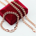 6MM  Rose Gold Filled Plated Jewelry Sets Necklace Bracelet Sets Party Jewelry Wholesale Retails