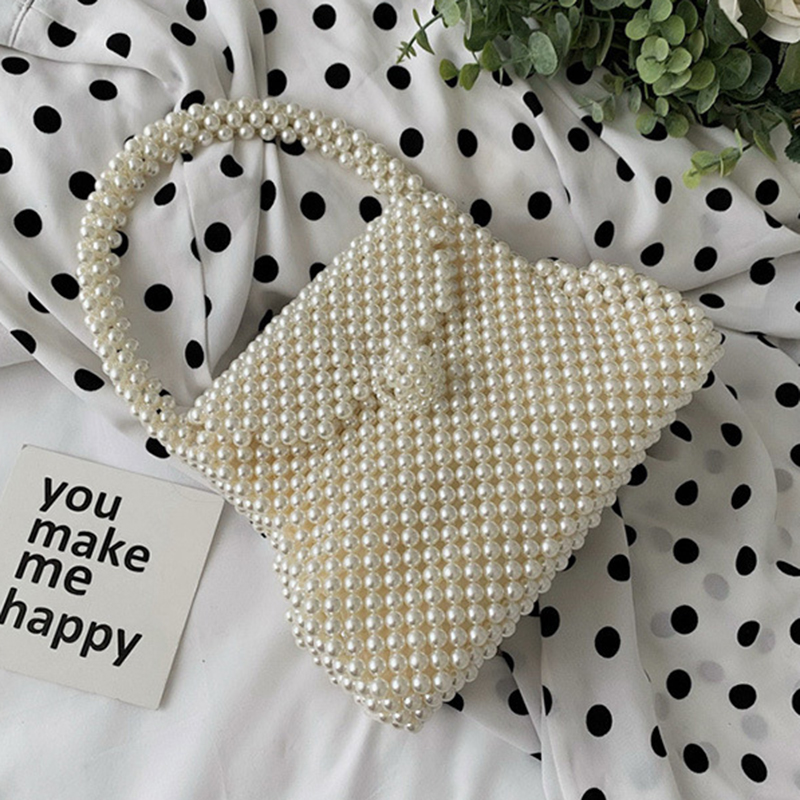 Retro Chic Pearl Handbag Female Evening Vintage Beading Top Handle Bag Women 2019 Spring Trendy Korean