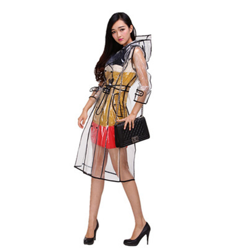 transparent ladies long raincoat women  female belt rain coat phoco waterproof travel trench Chubasqueros Mujer Fashion show