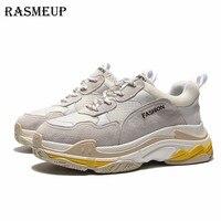 RASMEUP Genuine Leather + Mesh Women's Platform Sneakers 2018 Fashion Lace Up Women Flat Walking Shoes Woman Casual Dad Shoes