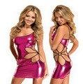 Plus Size Women Fashion Faux Leather Sexy Sleepwear Nightgown Women Nightwear Night Dress+G String Girls Night Gown B029