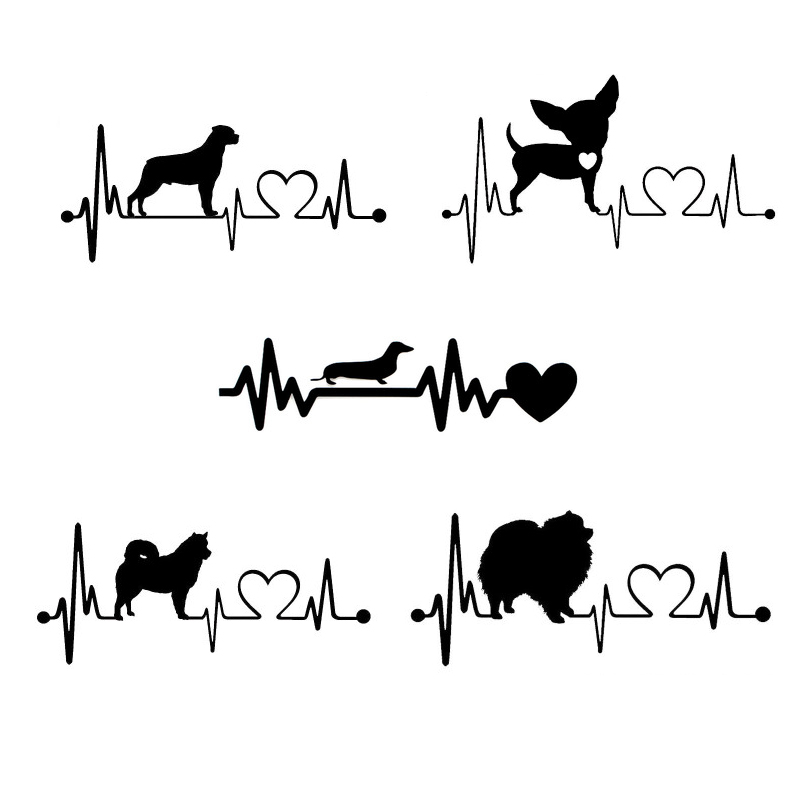 1x Car Sticker Samoyed Dog Heartbeat Chihuahua Dachshund Alaskan Rescue Lifeline Car Body Window Sticker Vinyl Decal Car-styling