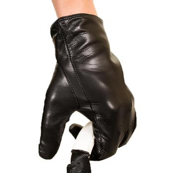 Mens Real Genuine sheepskin Leather Gloves Black Touch Screen Button Fashion Brand Winter warm leather gloves