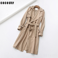 Women Classic Solid Long Trench Coat Female Doube Breasted Trench Sashes England Style Turn down Collar Outerwear abrigo mujer