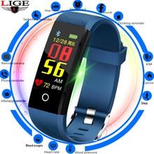 LIGE 2019 Smart Bracelet Pedometer Watch Heart Rate Blood Pressure  Monitor Waterproof wristband Fitness Tracker