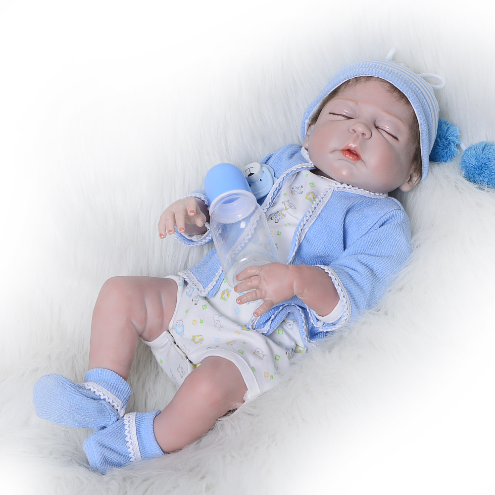 23 Inch Closed Eyes Reborn Dolls 57 cm Full Silicone Vinyl Newborn Doll Fashion Lifelike Boy Baby Toy For Kid Birthday Xmas Gift 22 inch 55 cm silicone baby reborn dolls lifelike doll newborn toy girl gift for children birthday xmas