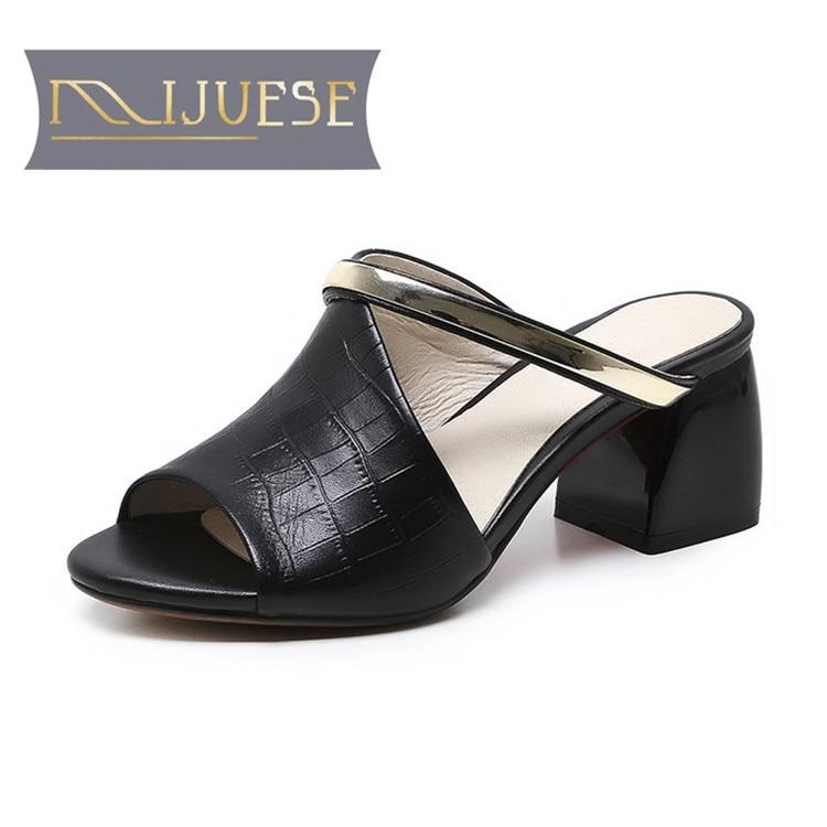 MLJUESE 2018 femmes pantoufles en cuir véritable noir couleur - Chaussures pour femmes