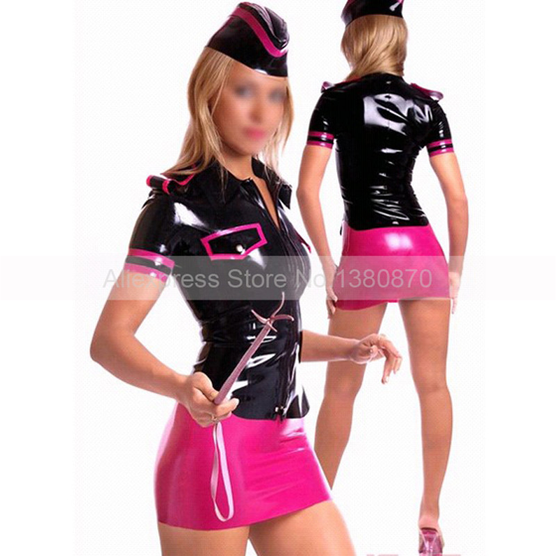 Latex Girl Uniform Dresses with Hats Sexy Fashion Rubber Latex Club Dressing S-LD149