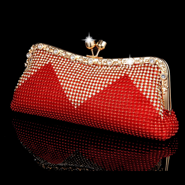 NEW Women Clutch Bags Beaded Evening Bags Pearl Diamonds Handbags Wedding Bridesmaids Bridal Party Feast Bag With Chains