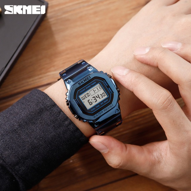2019 SKMEI NEW Men's G-Style Digital Watches Luxury Stainless Steel Square Electronic Wristwatches Womens Shock LED Sprots Watch