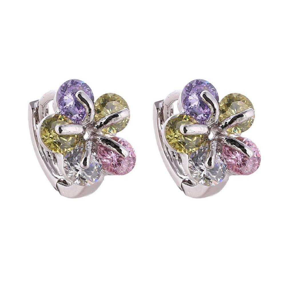 Brand Design Cute Little Hoop Earring For Girl Lovely Silver Plated Flower  Design Cubic Zirconia Jewelry