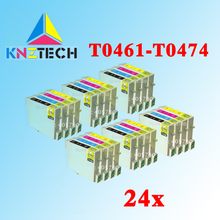 24 pcs T0461/T0472/T0473/cartucho de tinta compatível para STYLUS C63 T0474/C65/C83/ c85 CX6300/CX6500/CX3500
