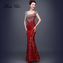 Sexy Mermaid Prom Dresses 2016 New Style Crystal Sequined Silver Formal Party Dress Elegant Evening Gown