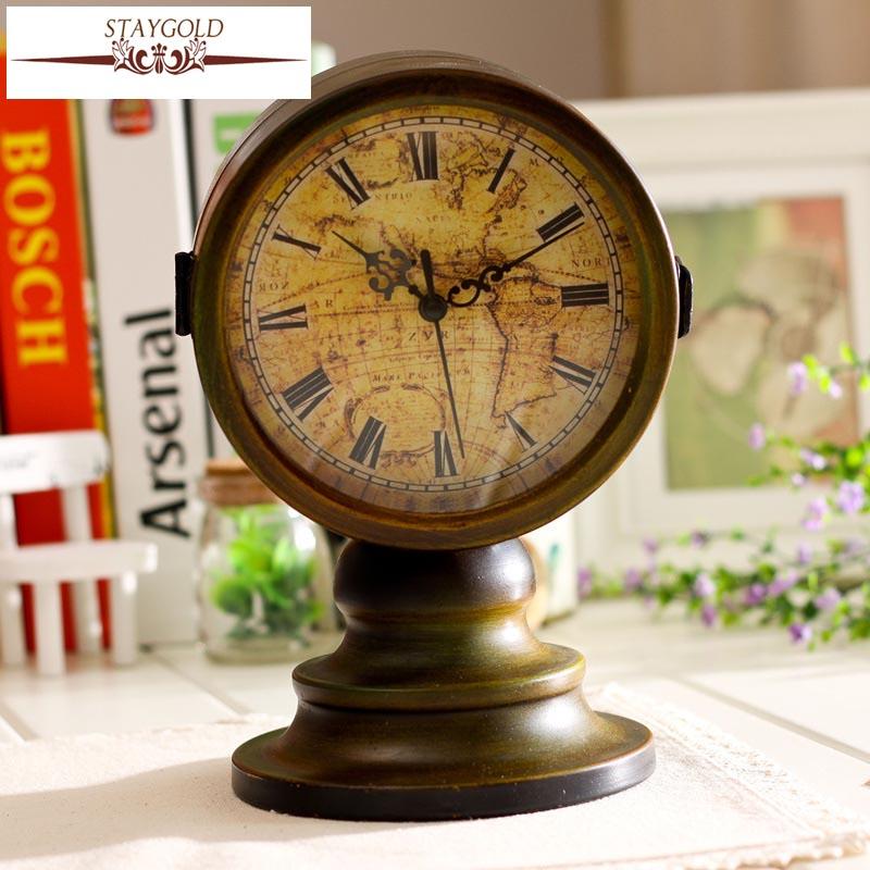 Retro Table Clock Antique Relogio Vintage Home Decor Metal de doble - Decoración del hogar - foto 1