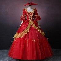 На заказ 2018 винтажные Красные кружевные танцевальные Бальные платья в викторианском стиле в стиле рококо барокко Marie платье Антуанетты