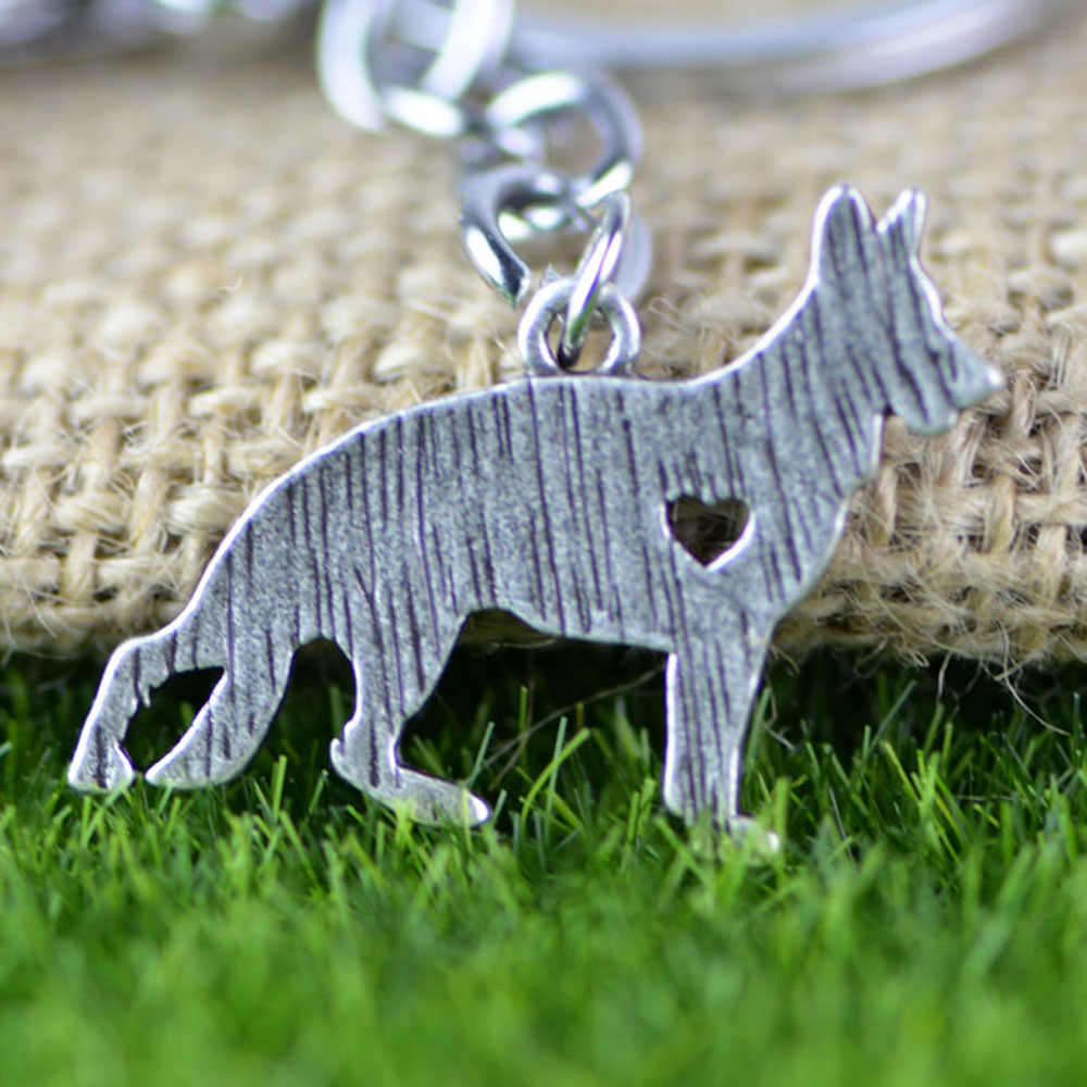 German Shepherd Dog Pendant Chains Keychain Animal Shape Silver Tone Metal Trendy Holder Keyring A039