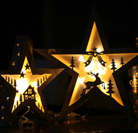 Christmas creative style decorative lights single 28 cm wood art big five pointed star battery light night light