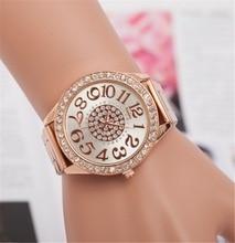 2017 KPOP Women Alloy Quartz Watches Bracelets Bangle Rhinestone Steel Wrist Band Geneva Watch Reloj Lady Carera Watch Wife Gift