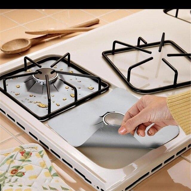 4 unids/set protectores de estufa de Gas de fibra de vidrio reutilizable cubierta de quemador de estufa de Gas revestimiento alfombrilla hogar utensilios de cocina estufas de Gas