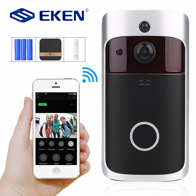 EKEN 2019 Smart WiFi Video Doorbell Camera Visual Intercom with Chime Night vision IP Door Bell Wireless Home Security Camera-in Doorbell from Security & Protection