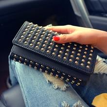2016 New Fashion Women Wallets Rivet Synthetic Leather Wallet Women's Long Design Purse Two Fold 2 Color Clutch
