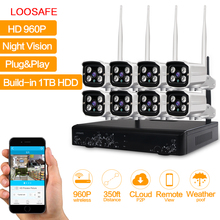 LOOSAFE NVR Wireless CCTV Kit WIFI IP Camera Video Surveillance HD 960P Outdoor 8CH WIFI Security Camera System CCTV KIT 1T HDD