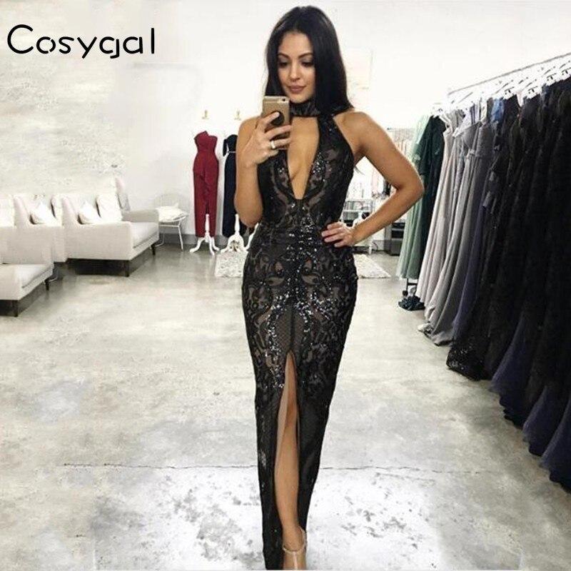 COSYGAL Black Women Sequins Long Dress 2018 Sexy Halter Maxi Evening Party Dress High Split Backless