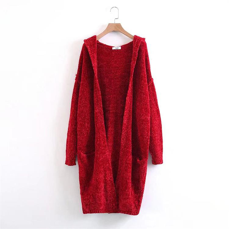 Aliexpress.com : Buy Chenille Long Hooded Cardigan Women Red Thick ...